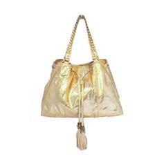 Gucci Metallic Gold Snakeskin Shoulder Bag Tote