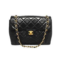 Chanel Black Pleated Lambskin Classic Shoulder Bag