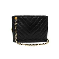 Chanel Black Lizard Chevron Quilted Shoulder Bag