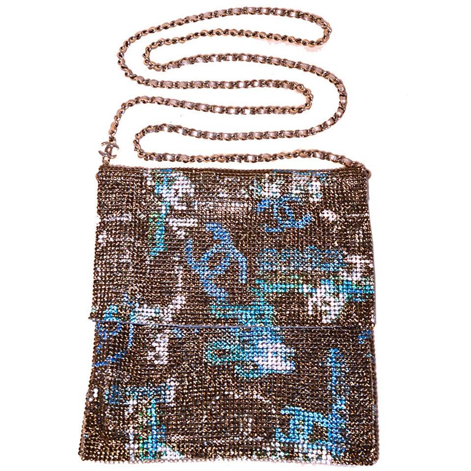 Chanel Rhinestone Chain mail Crossbody Shoulder bag-RUNWAY