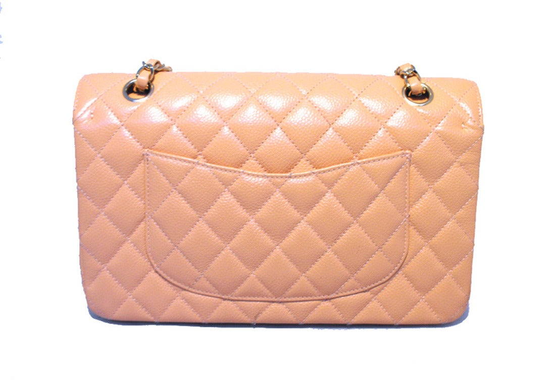 Beige Chanel Peach Caviar Quilted 10inch 2.55 Classic Double Flap Bag For Sale