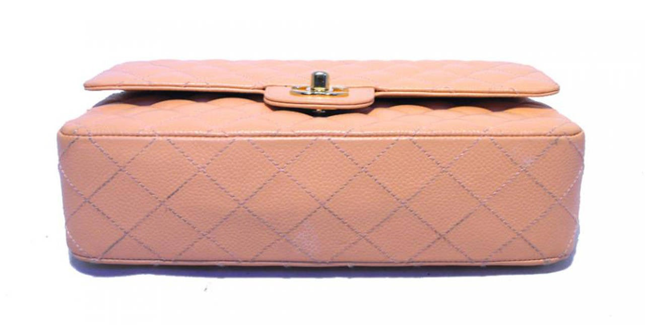 Chanel Peach Caviar Quilted 10inch 2.55 Classic Double Flap Bag In Excellent Condition For Sale In Philadelphia, PA