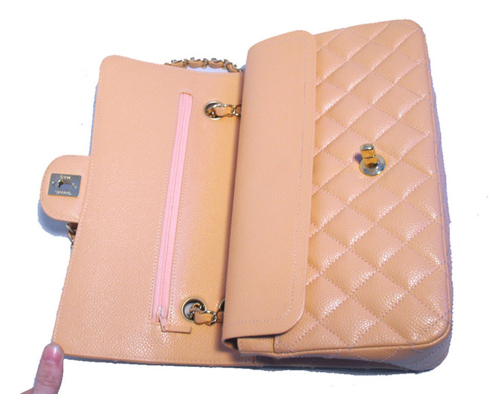 Chanel Peach Caviar Quilted 10inch 2.55 Classic Double Flap Bag For Sale 1
