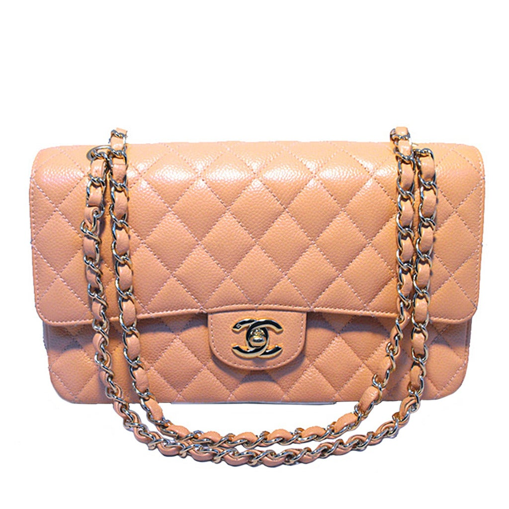 Chanel Peach Caviar Quilted 10inch 2.55 Classic Double Flap Bag For Sale