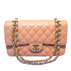 Chanel Peach Caviar Quilted 10inch 2.55 Classic Double Flap Bag