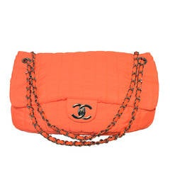 Chanel Neon Orange Quilted Nylon Classic Flap Shoulder Bag