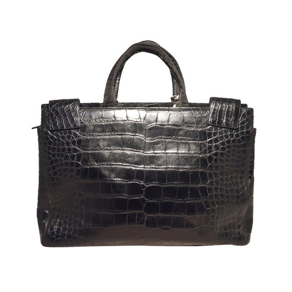 Prada Black Alligator Style Portfolio Briefcase Tote Bag at 1stdibs