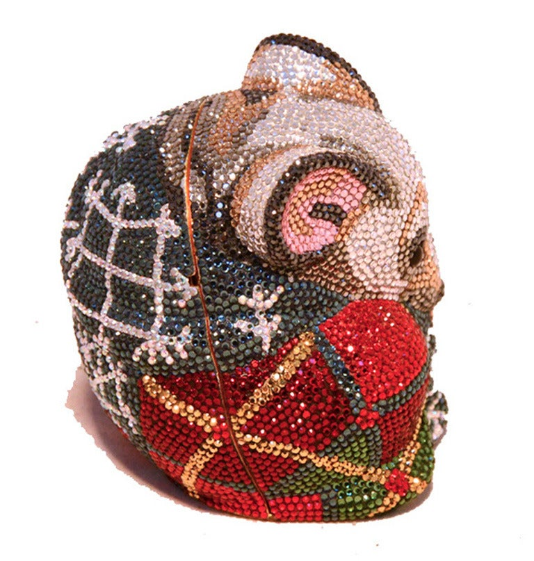 GORGEOUS JUDITH LEIBER mouse minaudiere in excellent condition. Multi colored swarovski crystal exterior in an adorable mouse form trimmed with gold hardware. Top button closure opens to a gold leather lined interior that holds a hidden attached