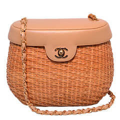 Chanel Tan Leather and Wicker Basket Shoulder Bag