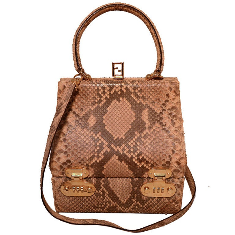 d52c42bb76 Fendi Natural Python Snakeskin Two-Way Kelly Bolide Handbag For Sale ...