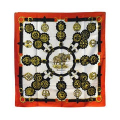 Authentic Hermes Vintage Cuirvreries Silk Scarf In Red and Black