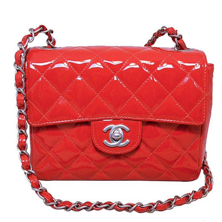 Chanel Red Patent Leather Mini Classic Flap Shoulder Bag