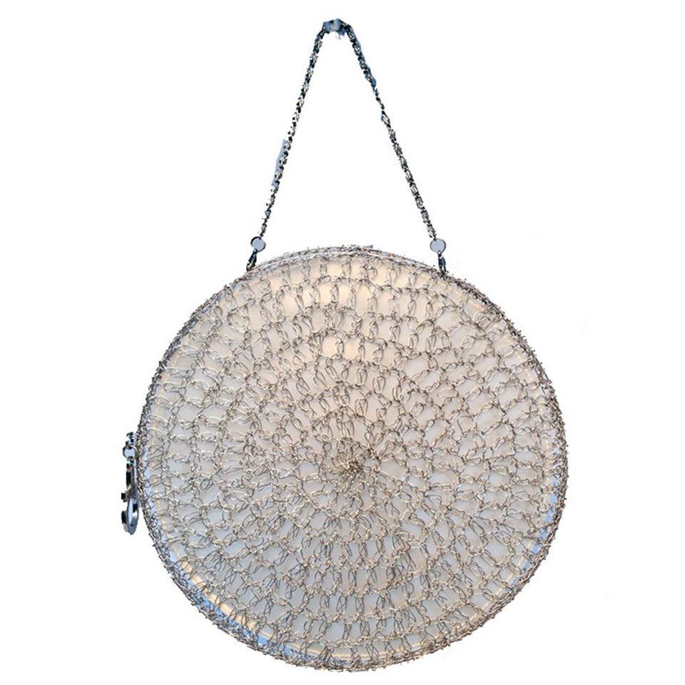 Salvatore Ferragamo Silver Wire Woven  Handbag- RUNWAY