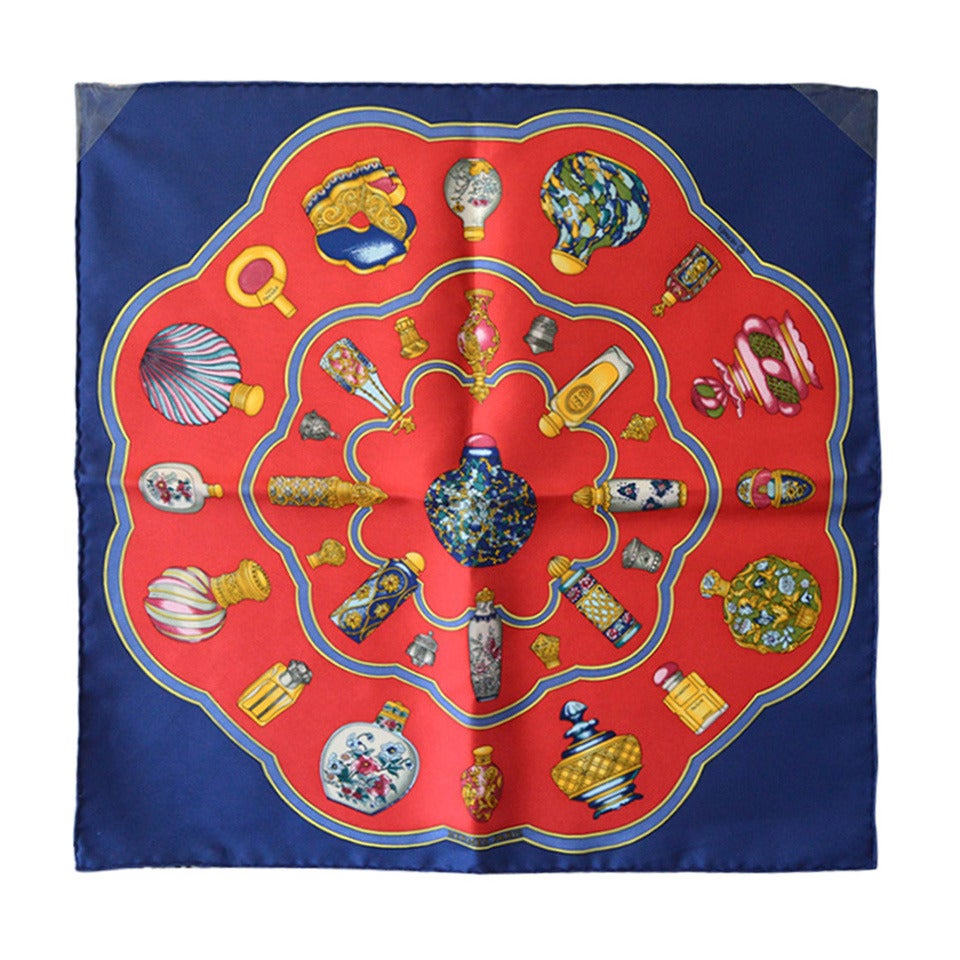 Hermes Qu´import Le Flacon Silk Pocket Square For Sale