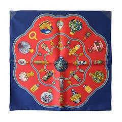 Hermes Qu´import Le Flacon Silk Pocket Square