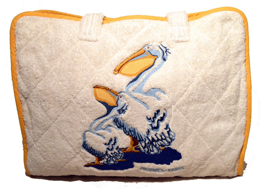 Hermes Terry Cloth Towel Beach Bag With Pillow Rare At 1stdibs