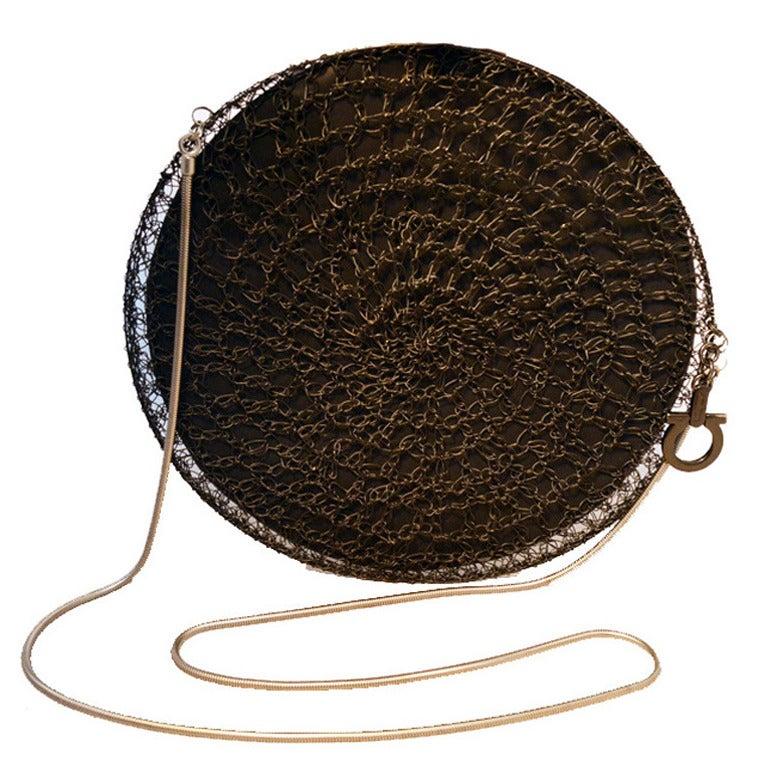 Salvatore Ferragamo Black Wire  Shoulder Bag RUNWAY