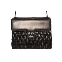 Chanel Black Leather and Wicker Shoulder Bag