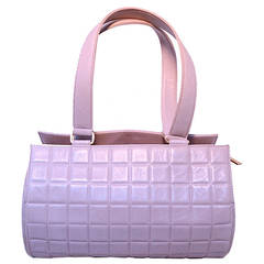 Chanel Lilac Purple Square Quilted Leather Cylinder Tube Shoulder Bag