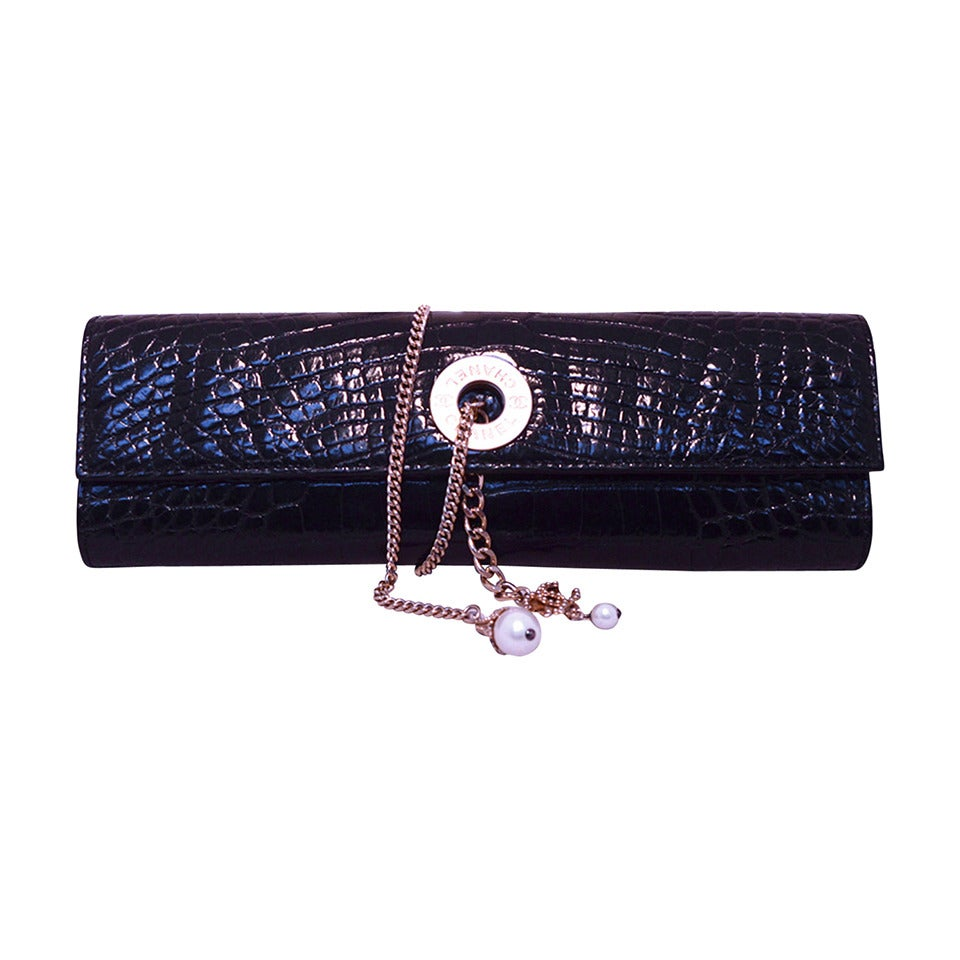 Chanel Black Alligator Clutch With Chain Wrap and Pearl Detail