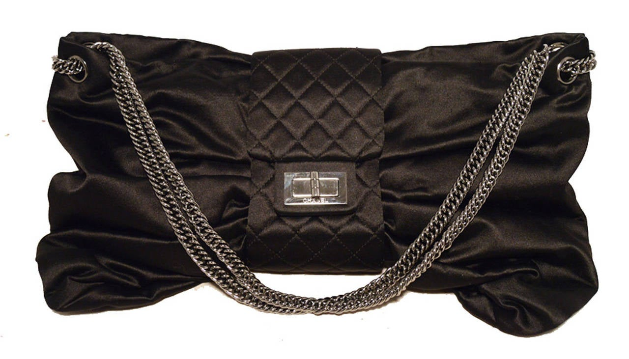 Chanel Black Satin Bow Shoulder Evening Bag 2
