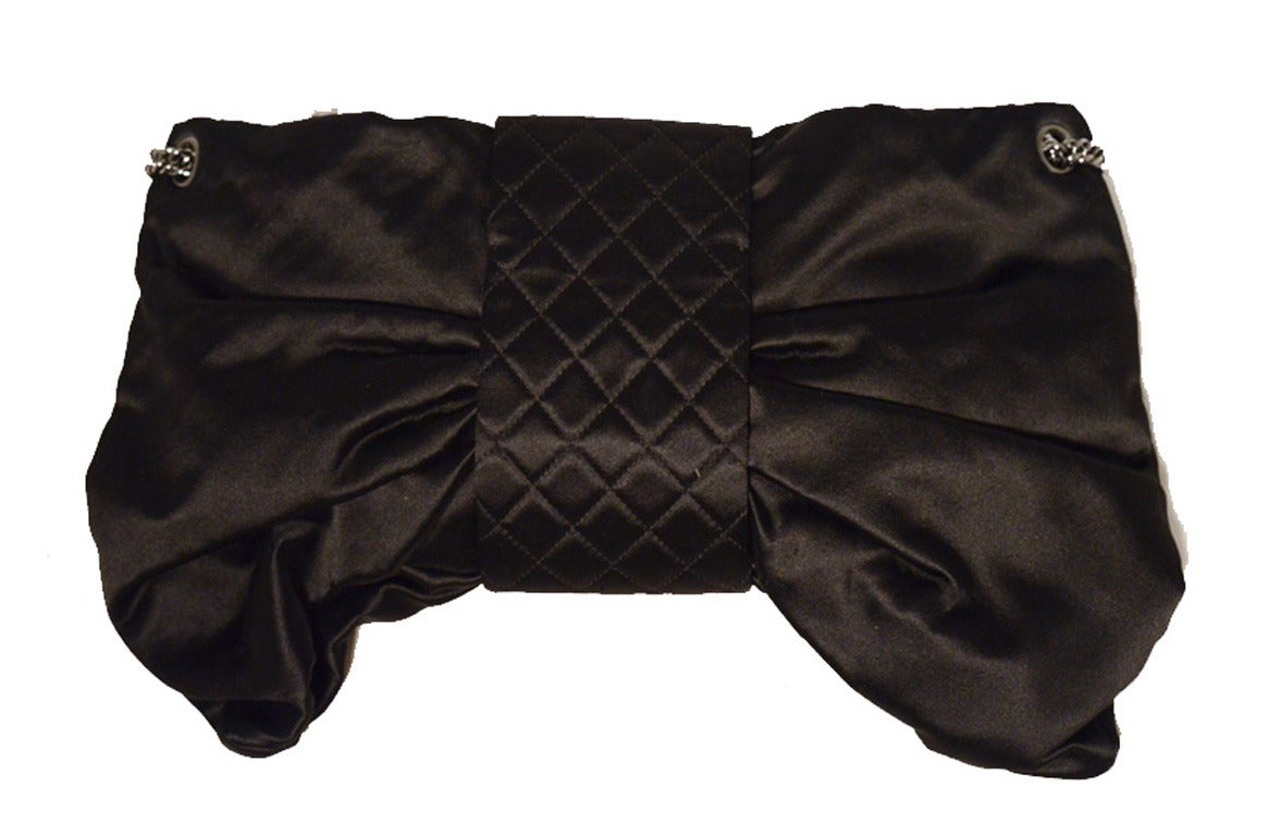 Chanel Black Satin Bow Shoulder Evening Bag 3