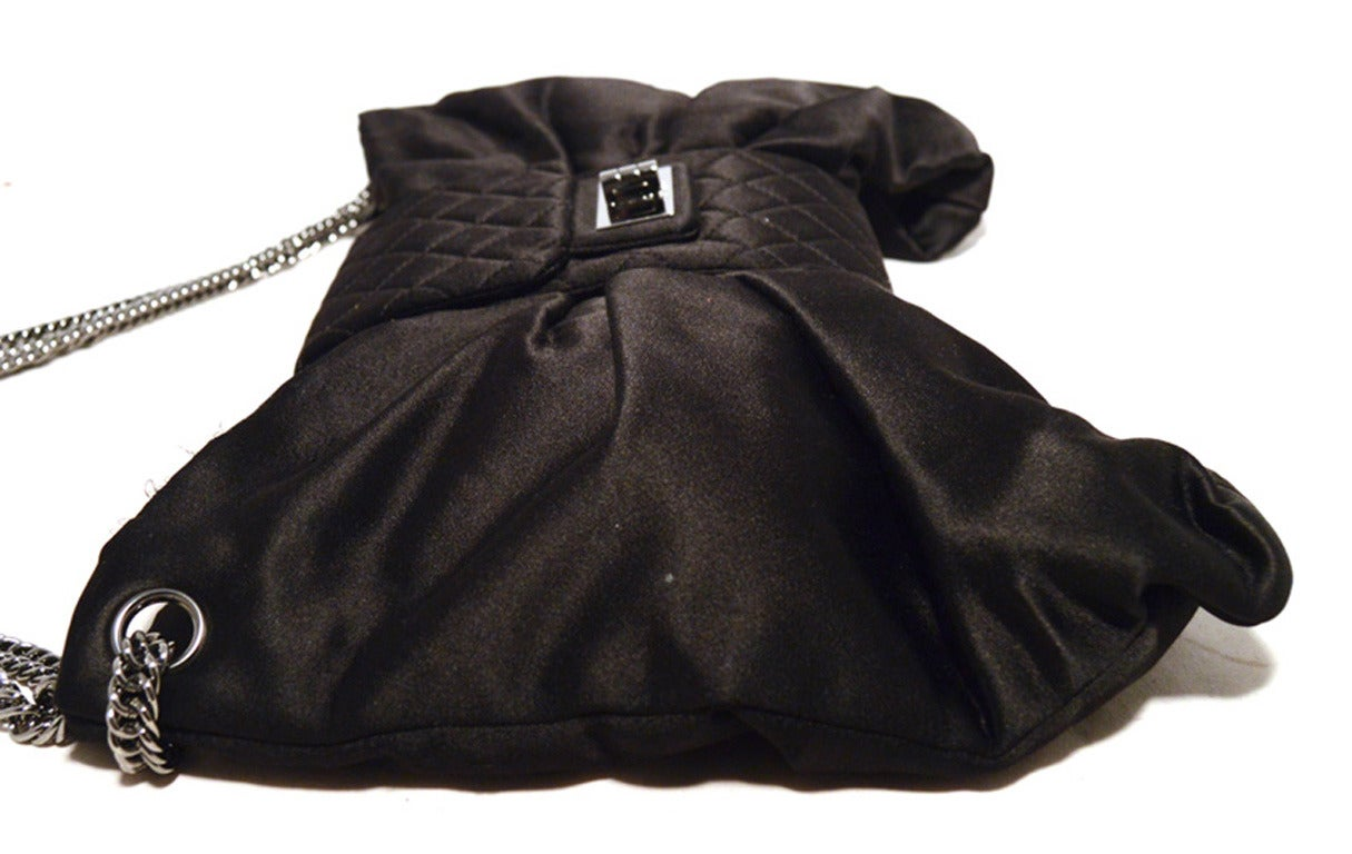 Chanel Black Satin Bow Shoulder Evening Bag 9
