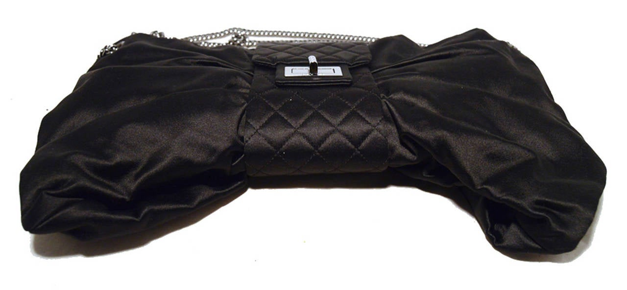 Chanel Black Satin Bow Shoulder Evening Bag 5