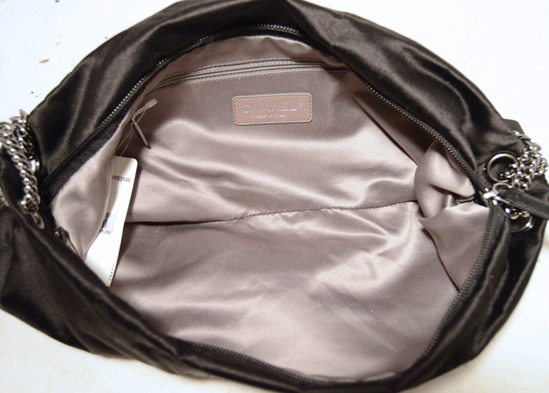 Chanel Black Satin Bow Shoulder Evening Bag 6
