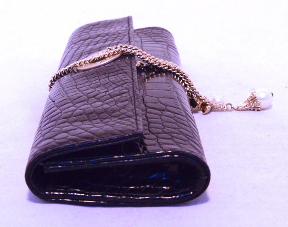 Chanel Black Alligator Clutch With Chain Wrap and Pearl Detail 2