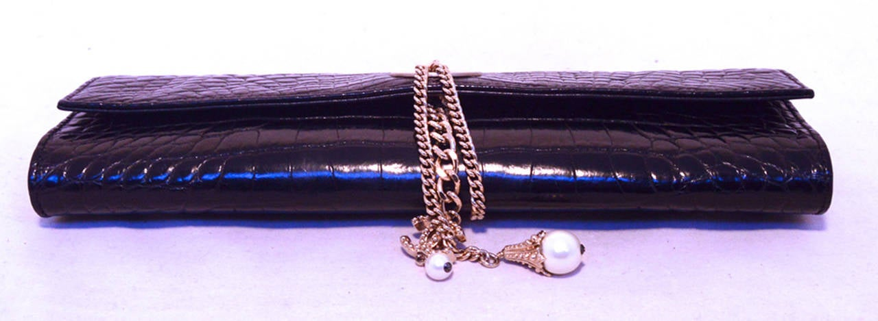 Chanel Black Alligator Clutch With Chain Wrap and Pearl Detail 4