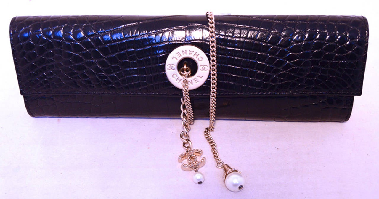 Chanel Black Alligator Clutch With Chain Wrap and Pearl Detail 5