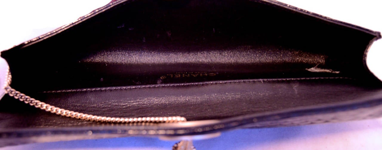 Chanel Black Alligator Clutch With Chain Wrap and Pearl Detail 8