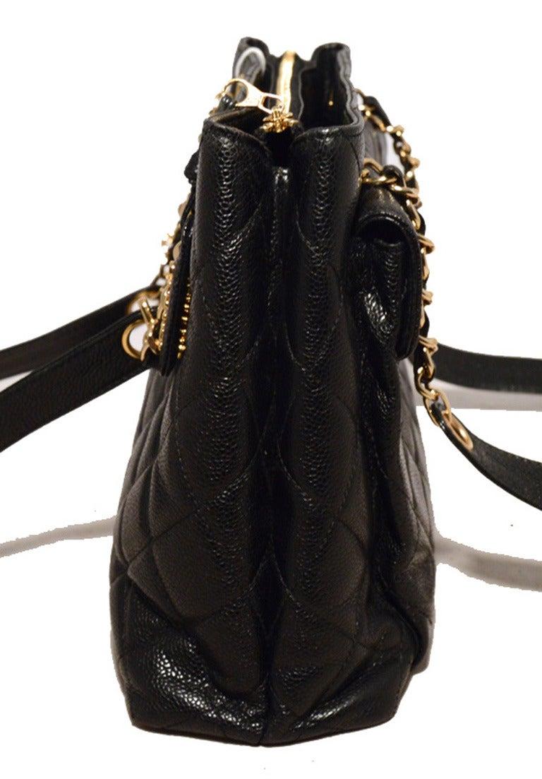Chanel Black Caviar Front Pocket Shopper Shoulder Bag At