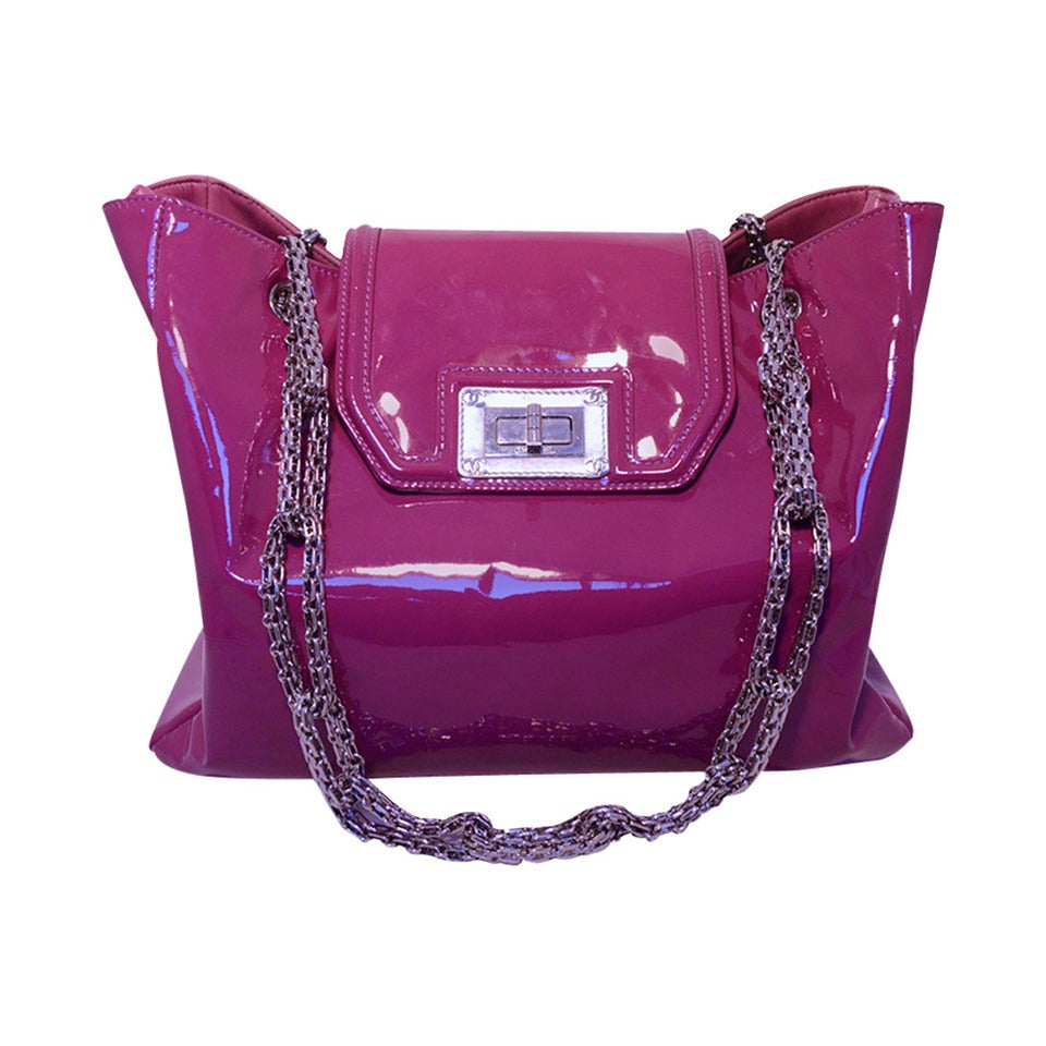 Chanel Purple Patent Leather Shoulder Bag Tote For Sale