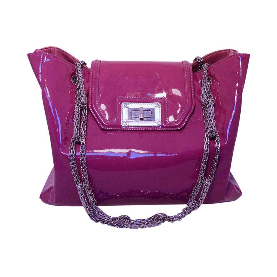 Chanel Purple Patent Leather Shoulder Bag Tote 1