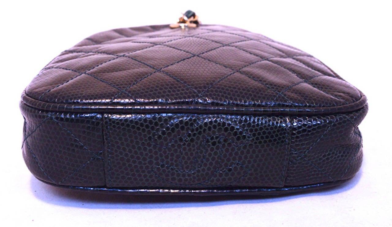 Black Chanel Dark Green Lizard Leather Pouchette Wristlet With Tassel For Sale