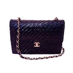 Chanel Black Wicker Basket Classic Flap Shoulder Bag