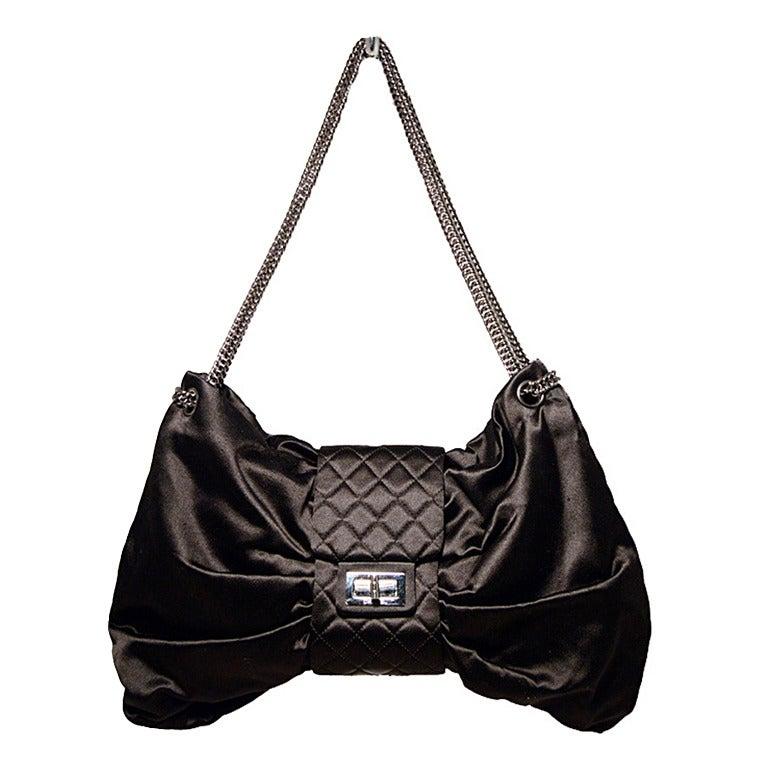 Chanel Black Satin Bow Shoulder Evening Bag At 1stdibs