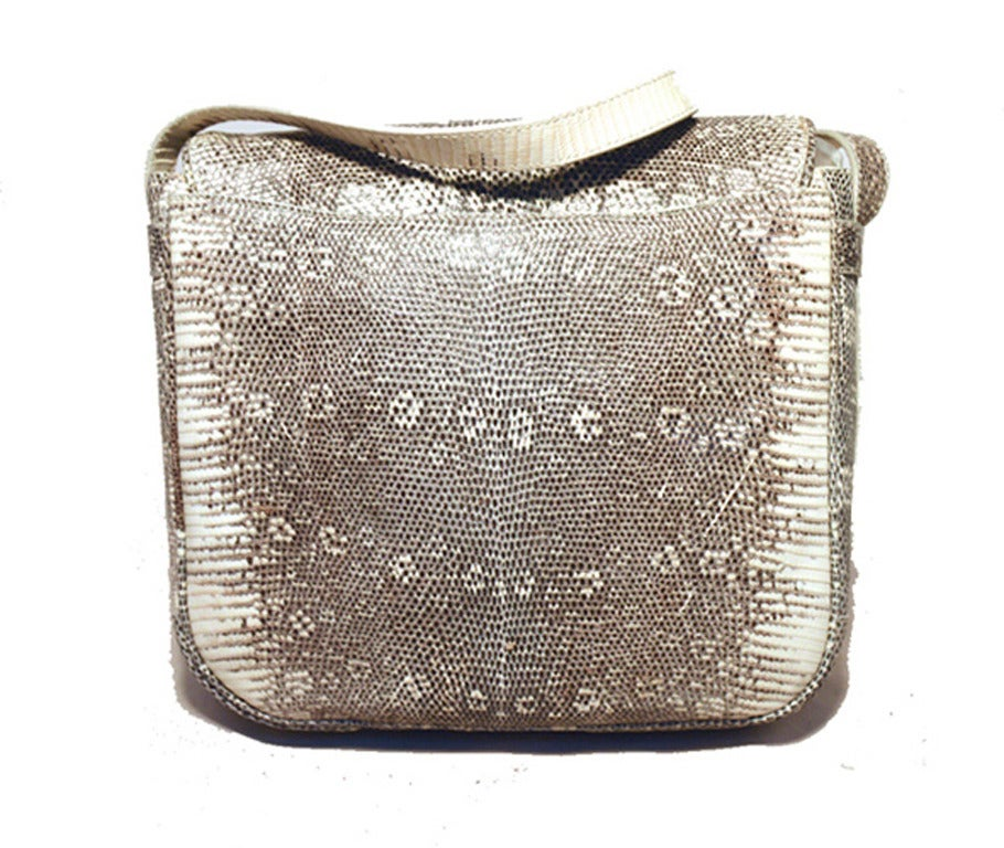 Trussardi Grey and White Ring Lizard Messenger Shoulder Bag 5