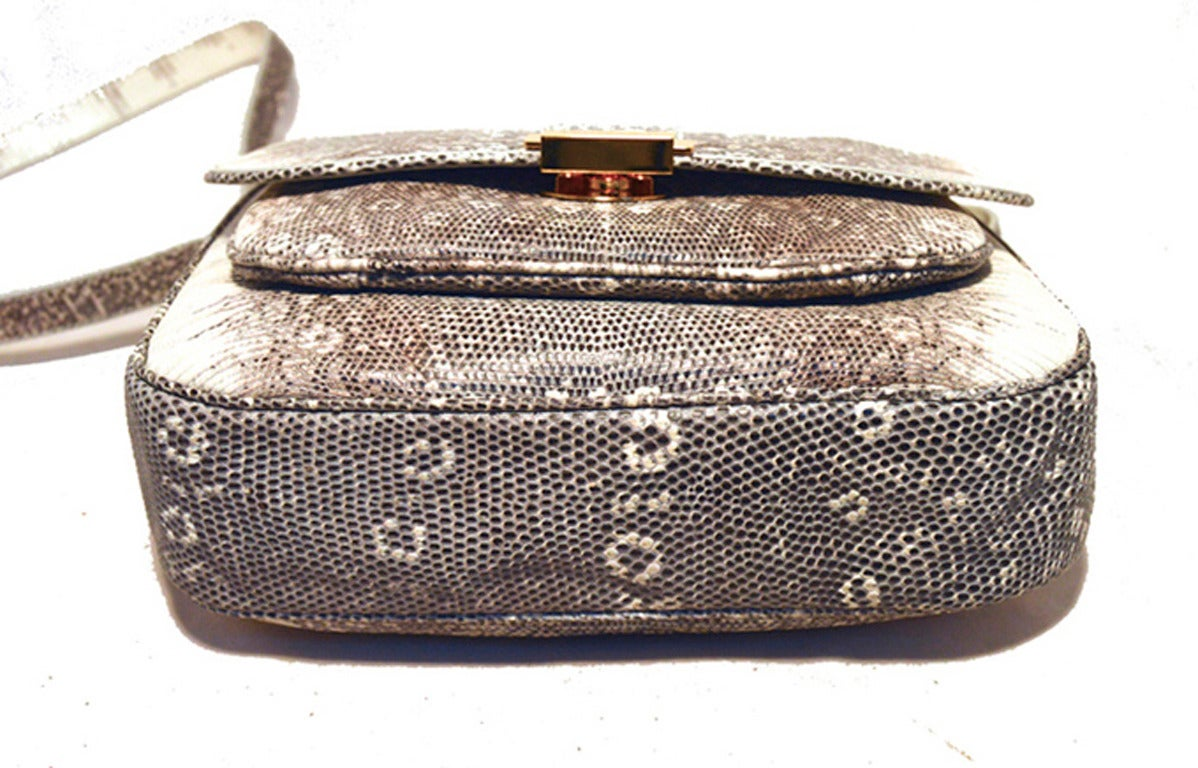 Trussardi Grey and White Ring Lizard Messenger Shoulder Bag 3