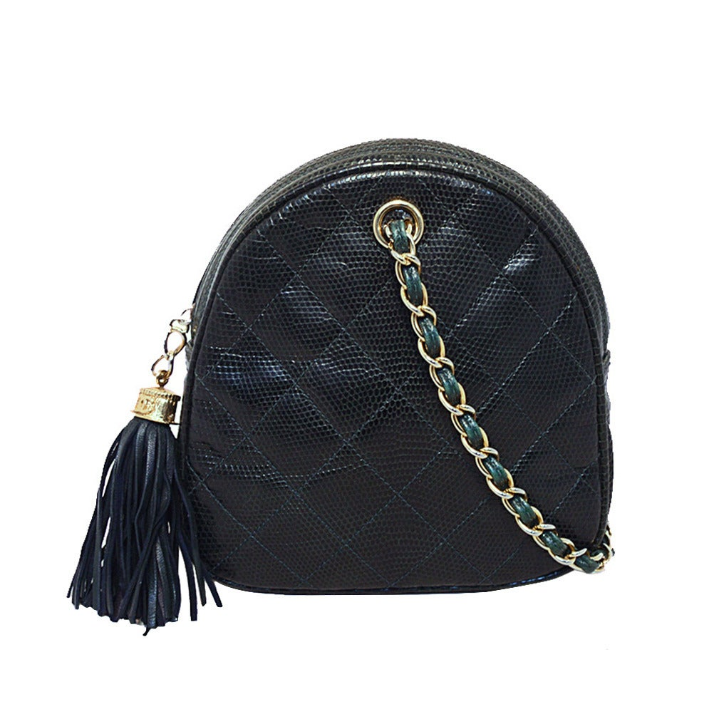 Chanel Dark Green Lizard Leather Pouchette Wristlet With Tassel 1