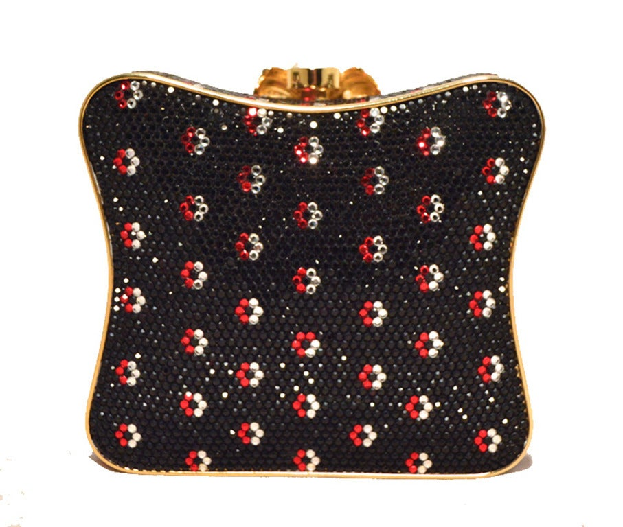 Judith Leiber Black Swarovski Crystal Floral Print Box Minaudiere In Excellent Condition For Sale In Philadelphia, PA