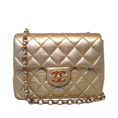 Chanel Vintage Quilted Gold Leather Mini Classic Flap Bag