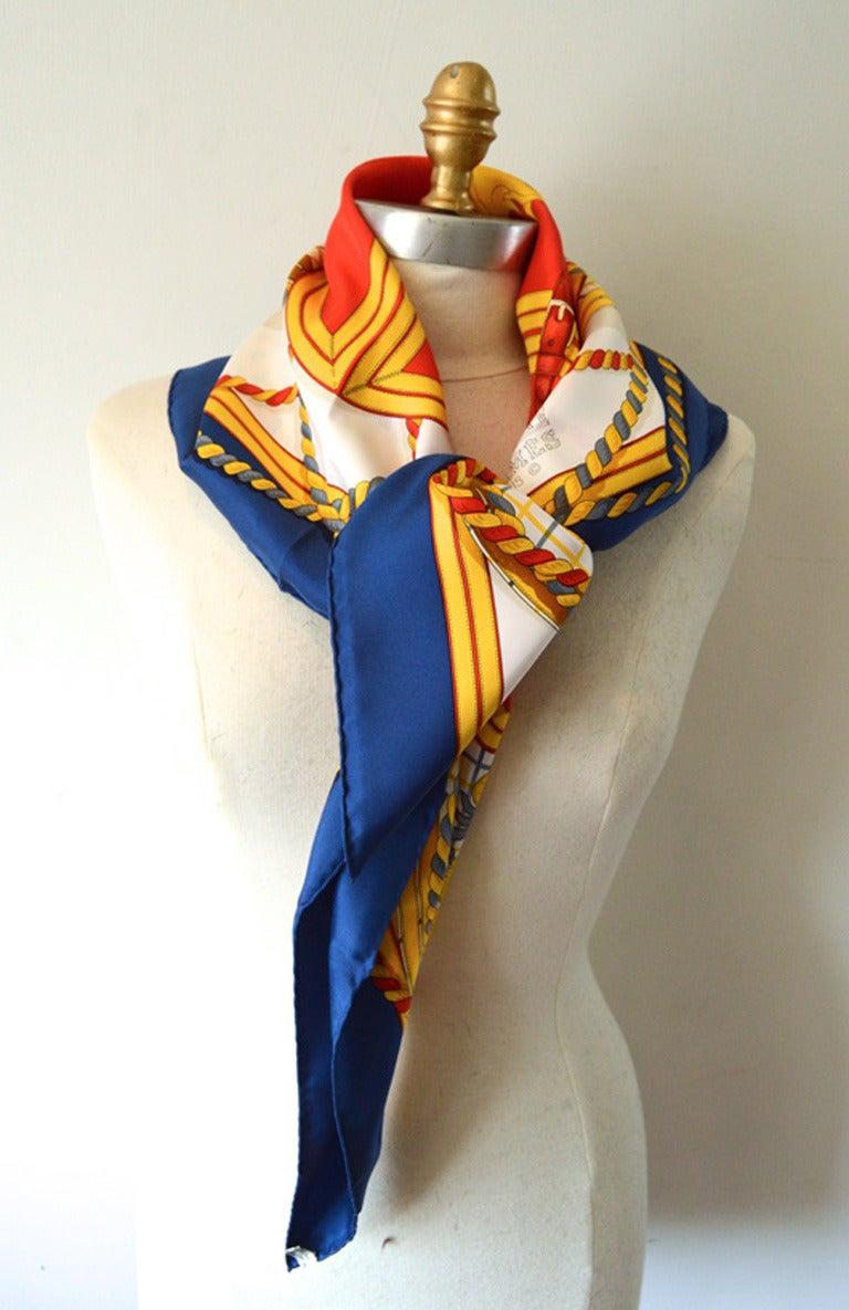 hermes vintage grande tenue silk scarf at 1stdibs