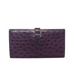 Hermes RARE Purple Ostrich Leather Wallet