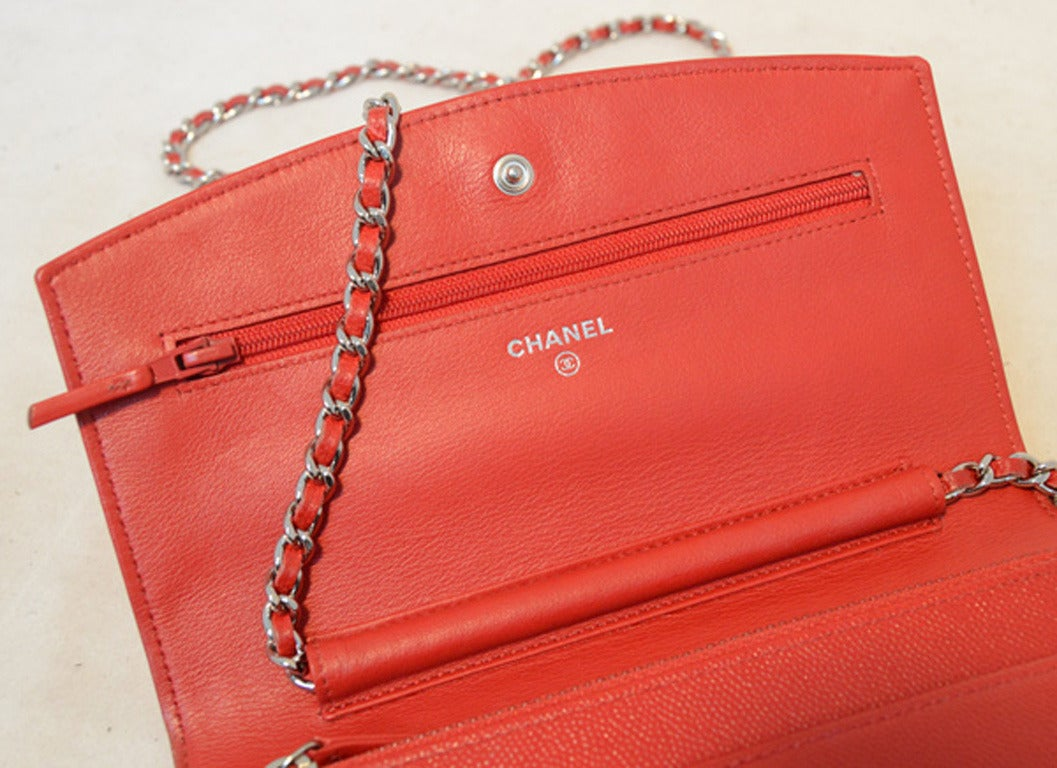 Chanel Red Caviar Wallet On A Chain Woc For Sale At 1stdibs