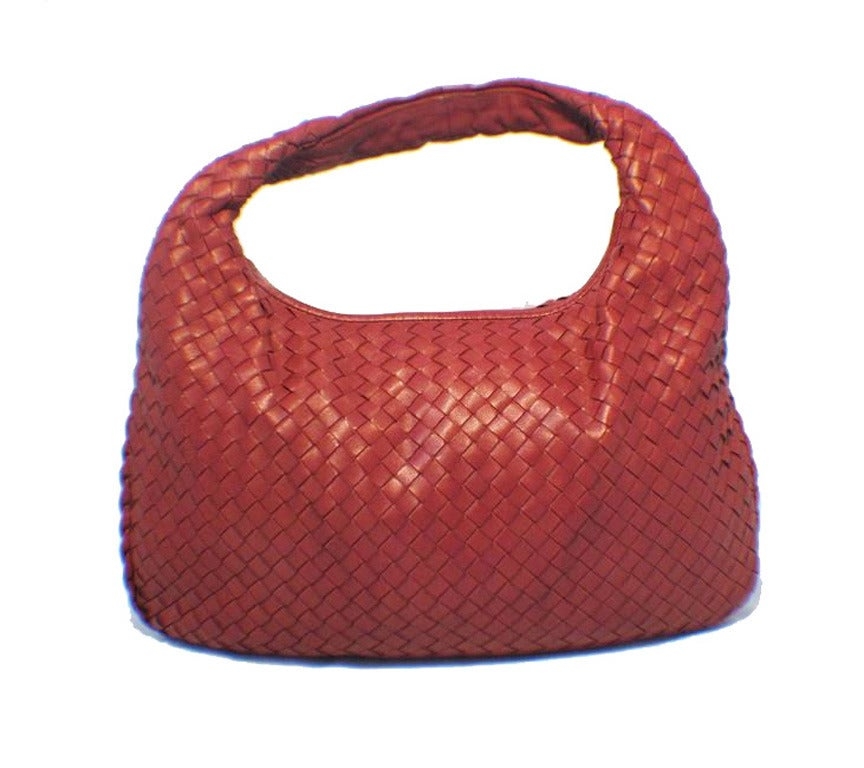 Brown Bottega Veneta Classic Red Woven Lambskin Leather Shoulder Bag For Sale