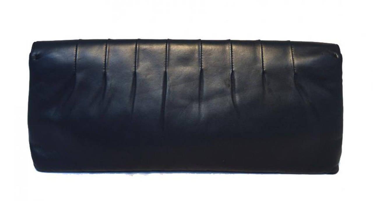 Chanel Black Pleated Lambskin Leather Clutch 7