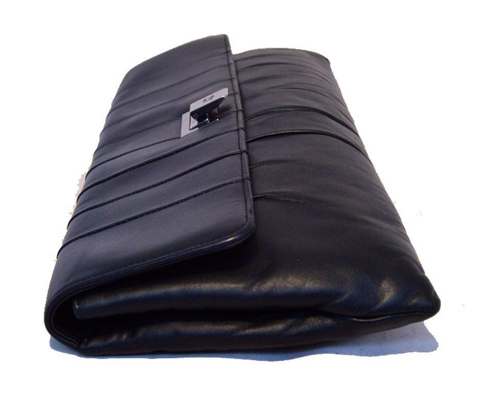 Chanel Black Pleated Lambskin Leather Clutch 2